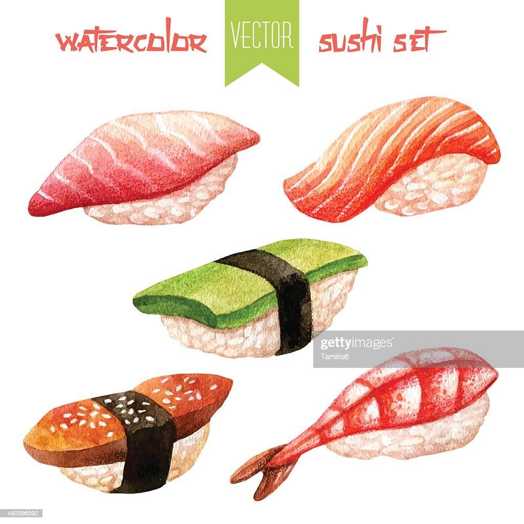 Watercolor set of sushi