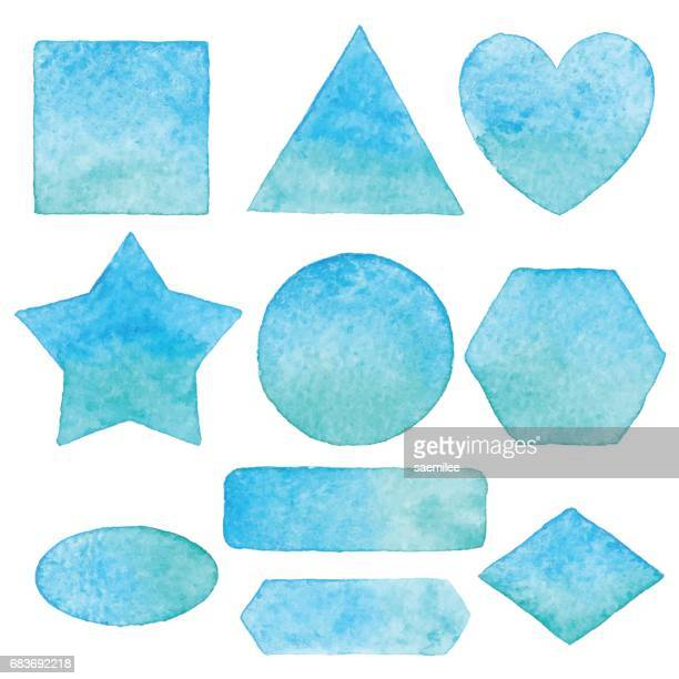 Aquarell Formen Elemente blau