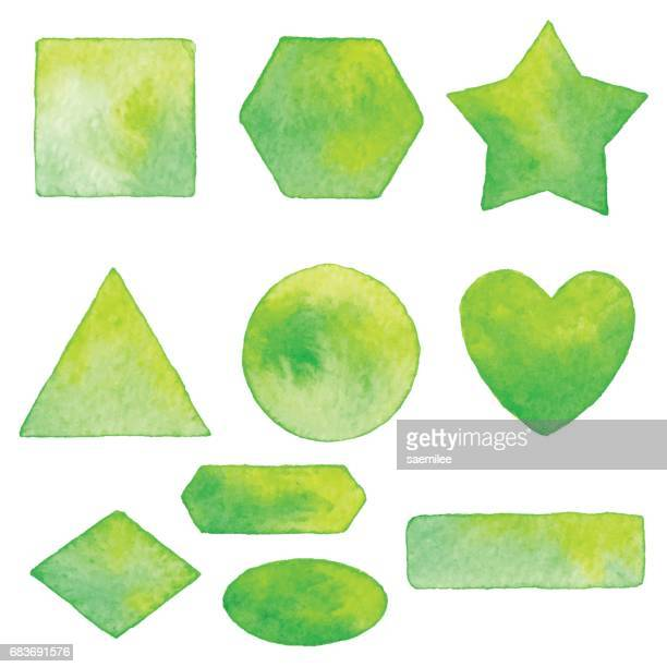 Watercolor Shapes Elements Green