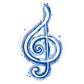 watercolor sign treble clef for a musical concert poster