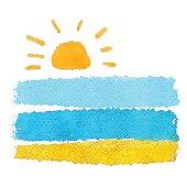 Watercolor sketch sun, sea, sand
