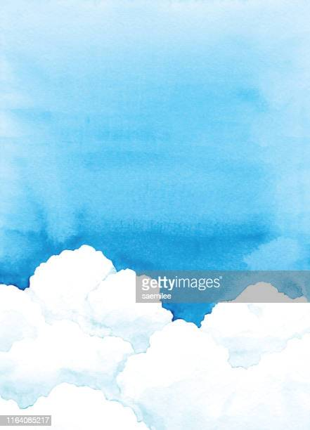 watercolor sky and cloud - cloud sky stock illustrations