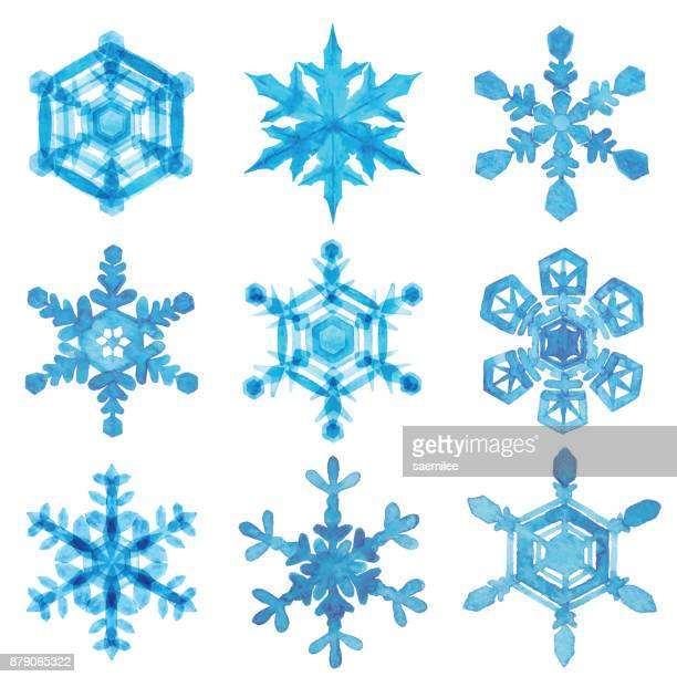 Watercolor Snowflakes With White Background