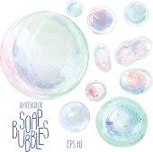 Watercolor soap bubbles