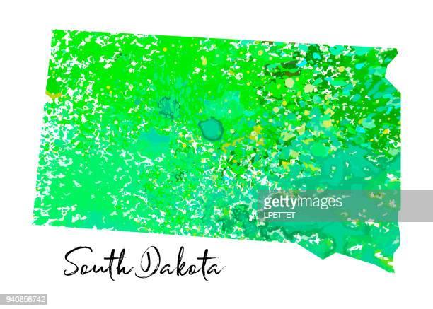 watercolor south dakota - south dakota stock illustrations, clip art, cartoons, & icons