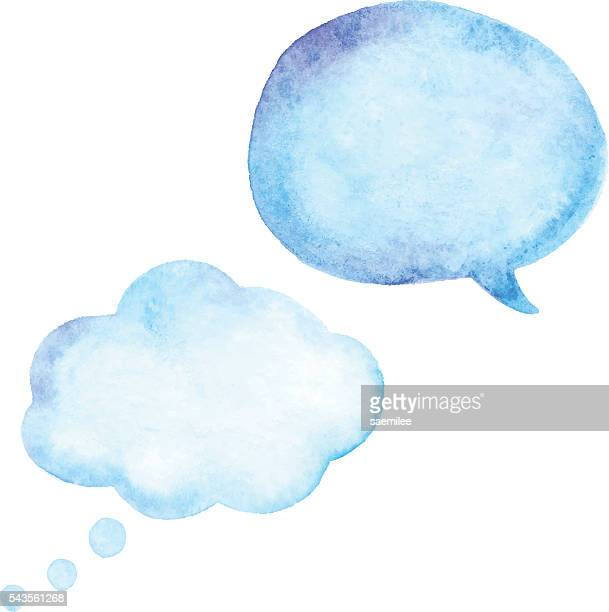 watercolor speech bubble - thought bubble stock illustrations