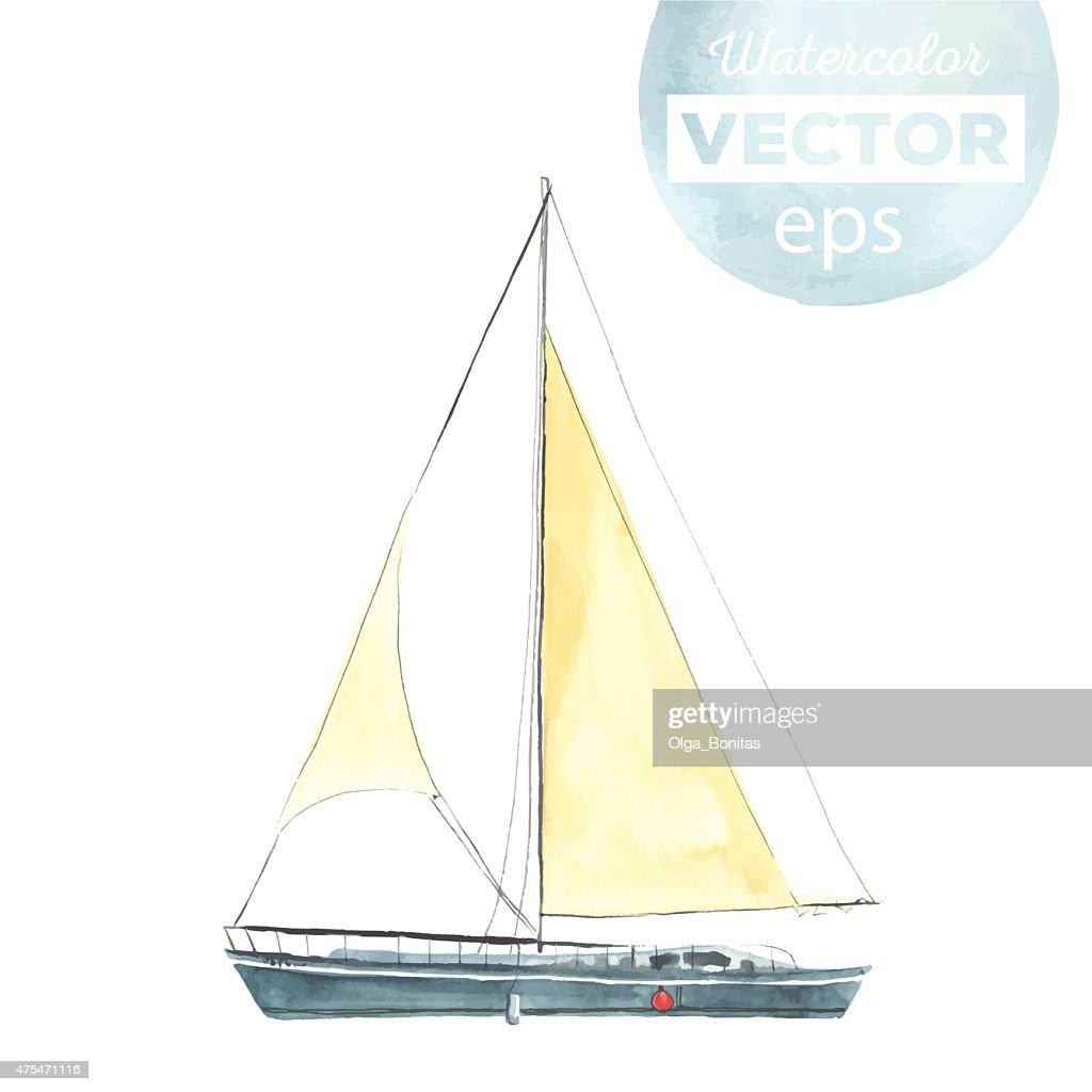 Watercolor sport yacht