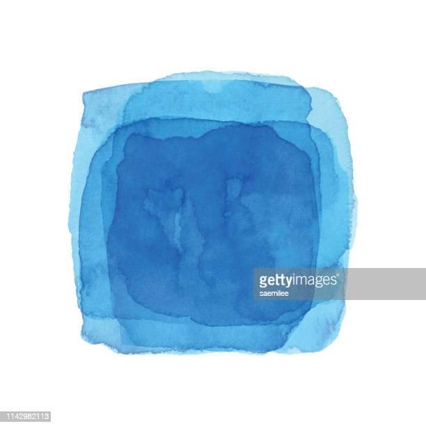 illustrazioni stock, clip art, cartoni animati e icone di tendenza di acquerello sfondo quadrato blu - acquerello su carta
