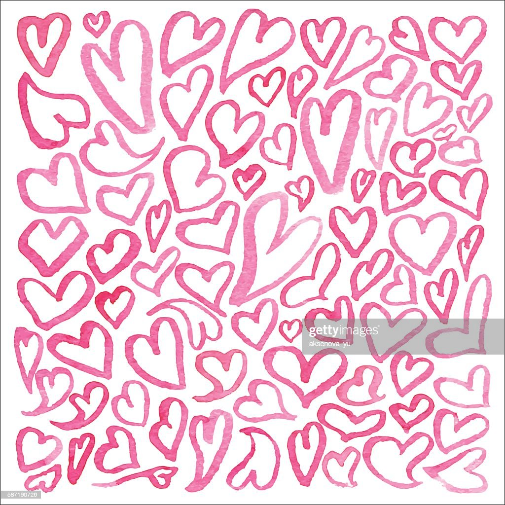 Watercolor square pattern of hearts