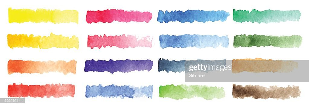Watercolor stripe brush colorful rainbow palette vector background