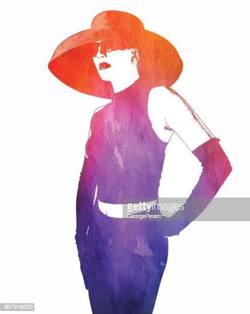 watercolor style illustration of an elegant young woman wearing vintage evening gloves and hat - sleeveless stock illustrations, clip art, cartoons, & icons