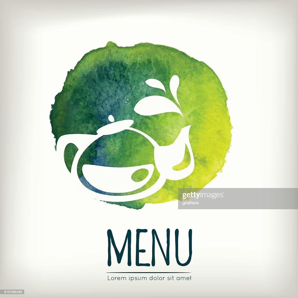 Watercolor style menu design with tea element