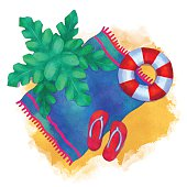 Watercolor summer beach cartoon illustration