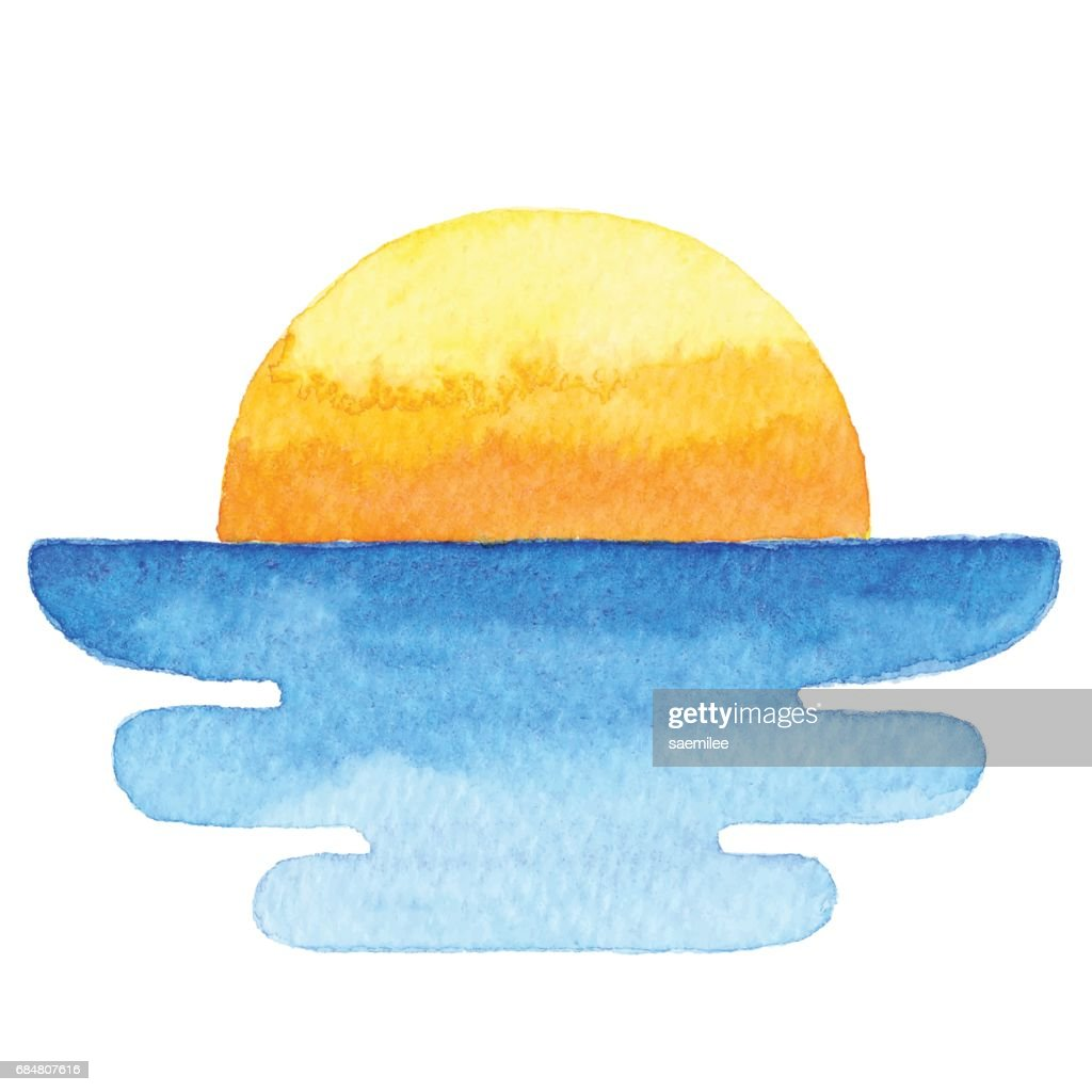 Watercolor Sun And Sea