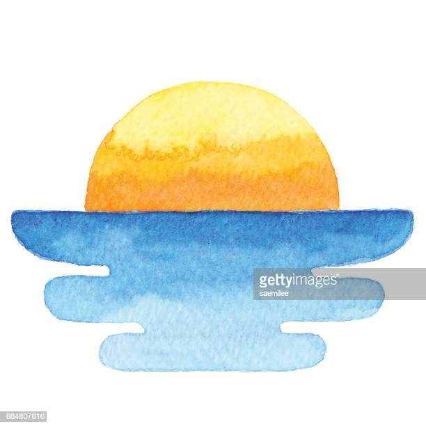 watercolor sun and sea - horizon stock illustrations, clip art, cartoons, & icons