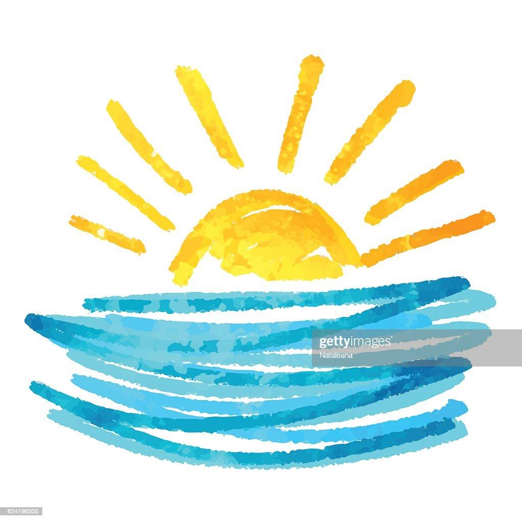 Watercolor sun, waves, sea