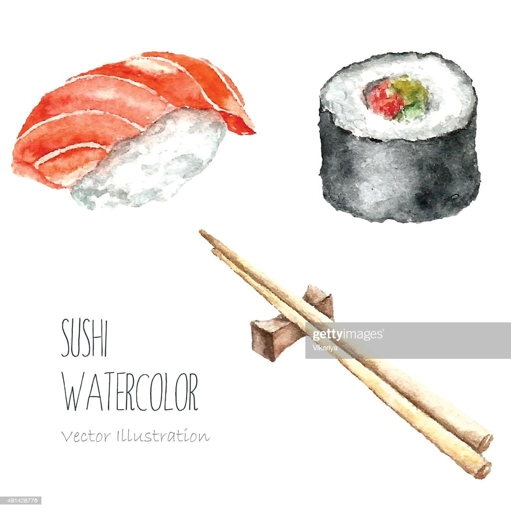 Watercolor sushi and roll with chopsticks.