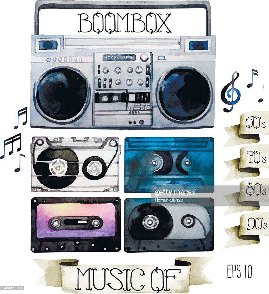 Watercolor tape recorder and cassettes