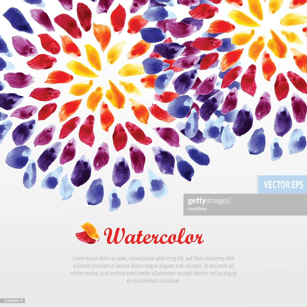 Watercolor template colorful rainbow brushstrokes