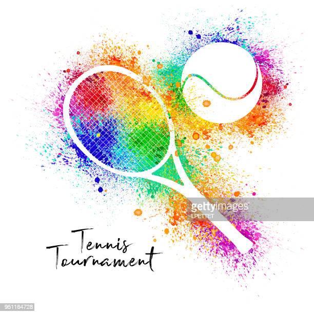 ilustraciones, imágenes clip art, dibujos animados e iconos de stock de bandera de tenis acuarela - raqueta de tenis