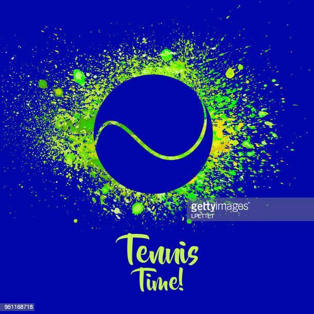 illustrazioni stock, clip art, cartoni animati e icone di tendenza di striscione da tennis acquerello - pallina da tennis
