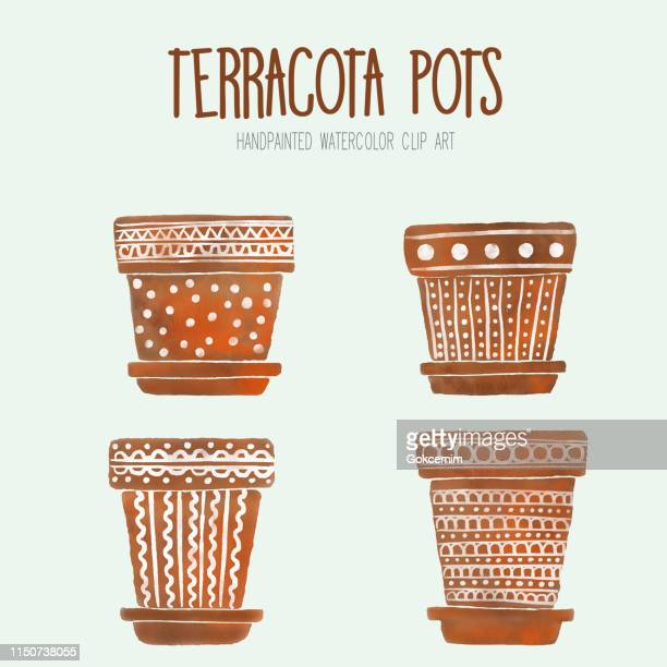 watercolor terracotta flower pots, boxes, vases, containers. brown flower pots with hand painted white ornaments. art clip, design element - pottery stock illustrations, clip art, cartoons, & icons