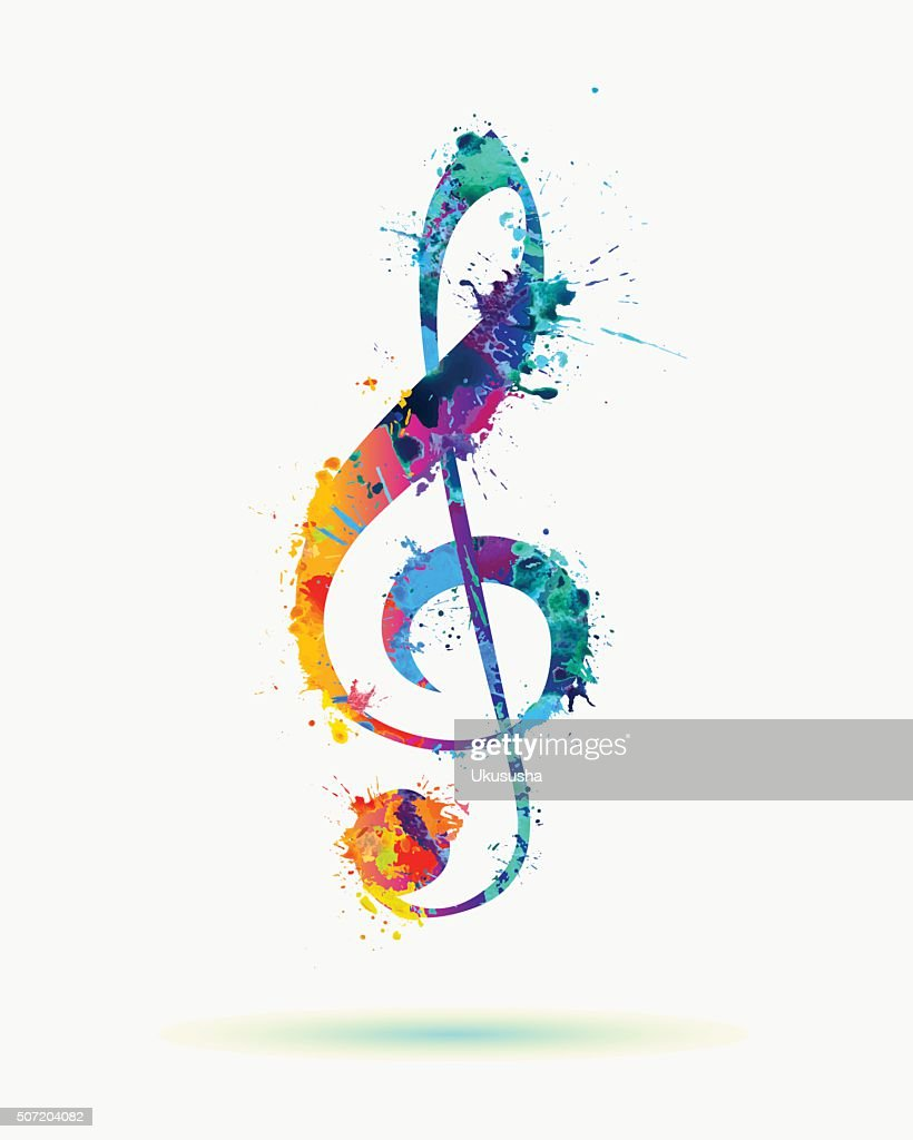 watercolor treble clef