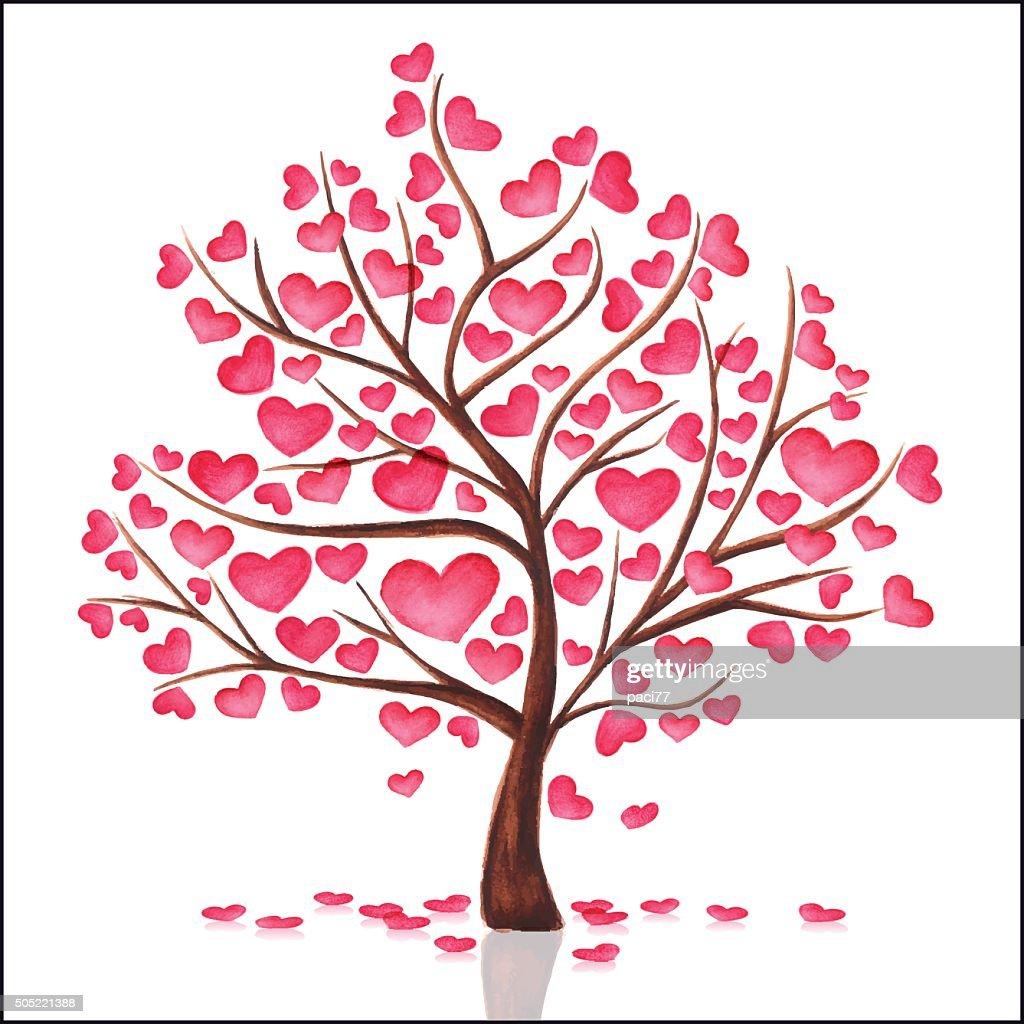 Watercolor Tree Heart : Vector Art