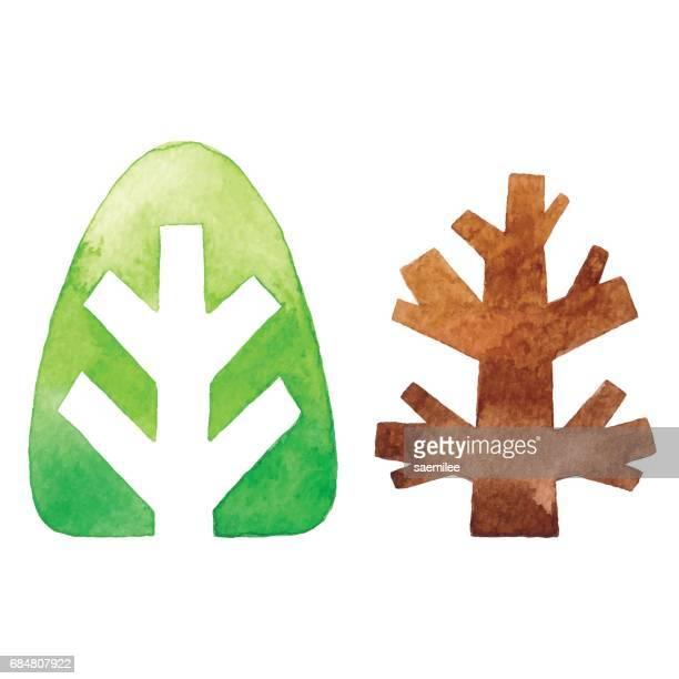 Watercolor Tree Logo Set
