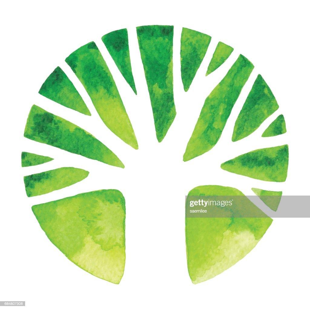 Watercolor Tree Logo : stock illustration