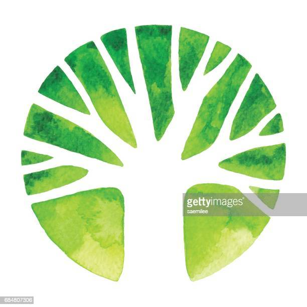 watercolor tree logo - growth stock illustrations