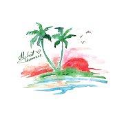 Watercolor tropical island