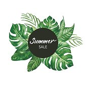Watercolor tropical leaves frame with SUMMER SALE words modern lettering