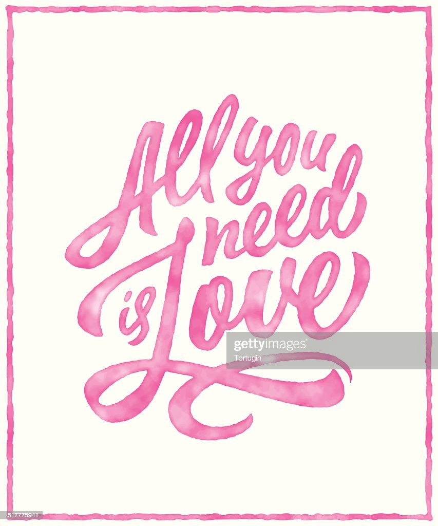 Watercolor typographic lettering love poster