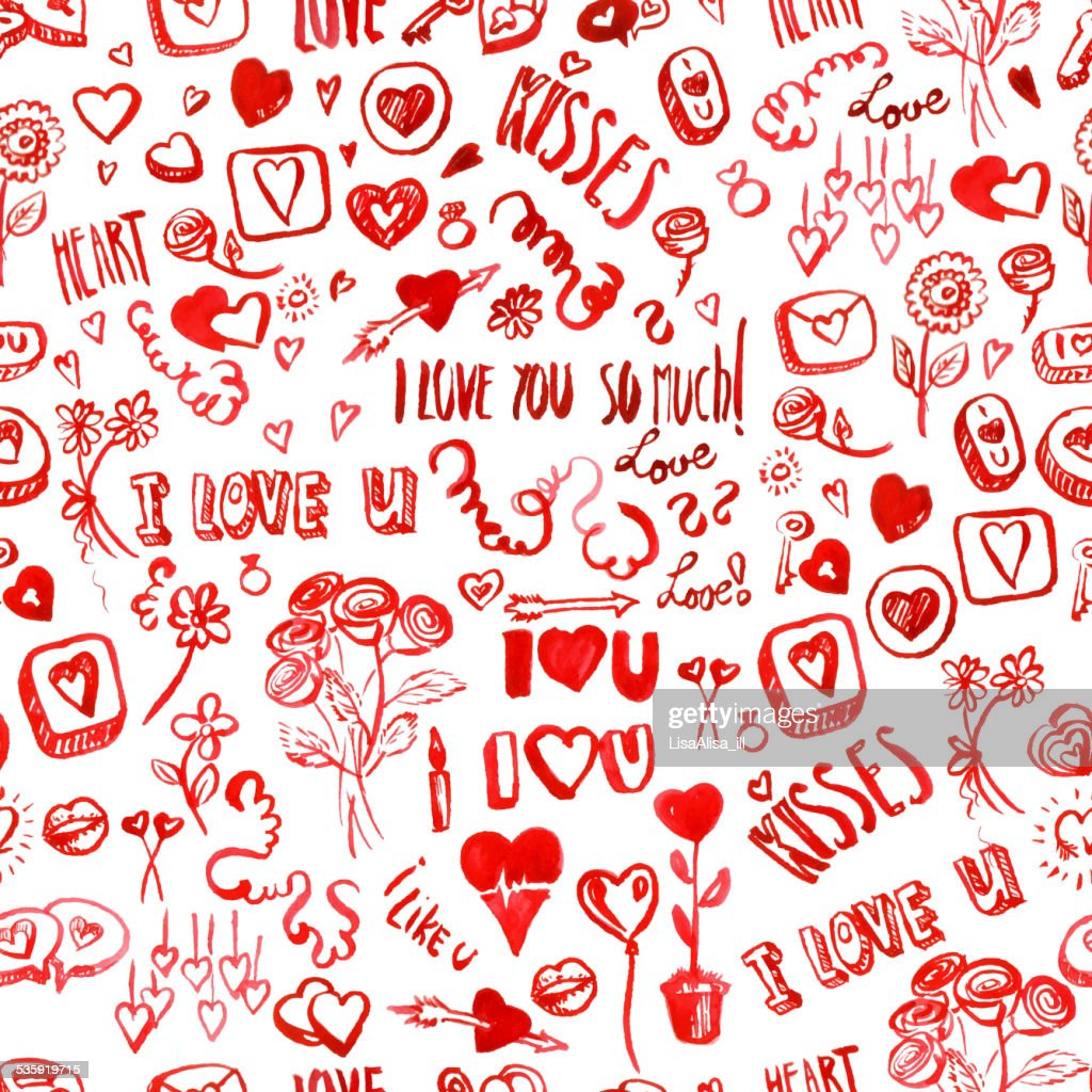 Watercolor Valentine's day pattern : Vector Art