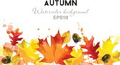 watercolor vector autumn background