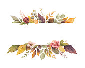 Watercolor vector autumn banner with roses and leaves isolated on white background.