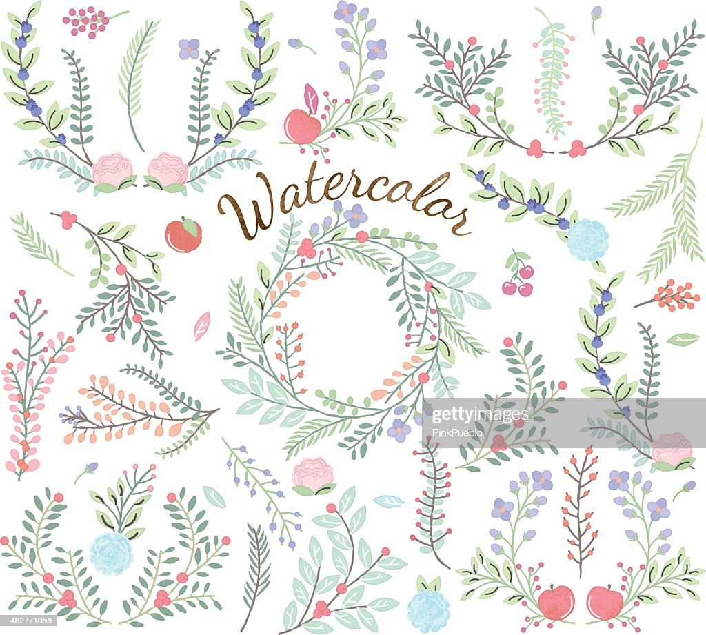 Watercolor Vector Collection of Florals