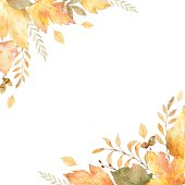 Watercolor vector frame of leaves and branches isolated on white background.
