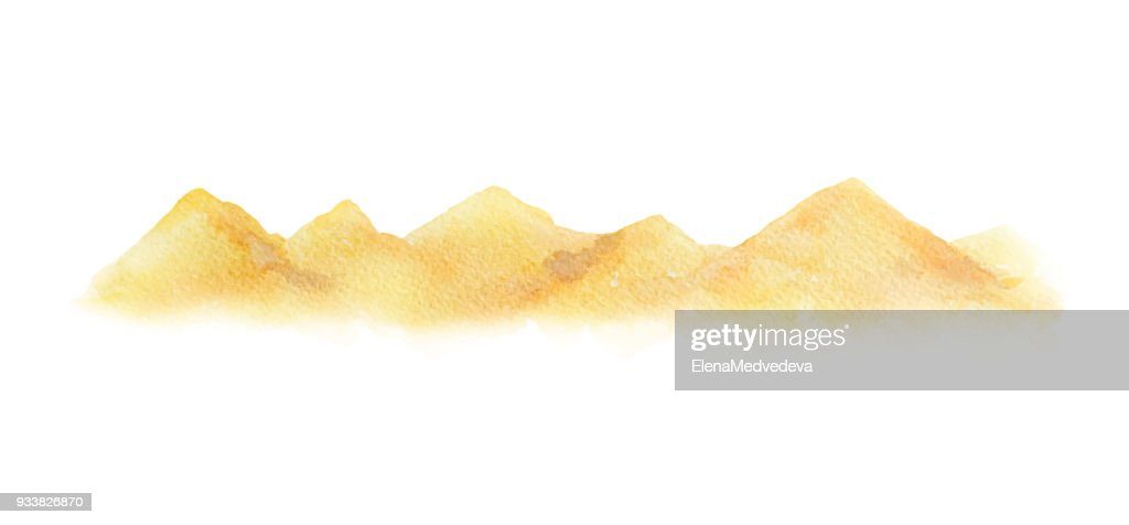 Watercolor vector horizontal background of a landscape with a desert.