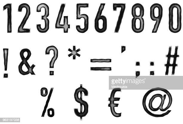 watercolor vector numbers exclamation question mark - film script stock illustrations, clip art, cartoons, & icons