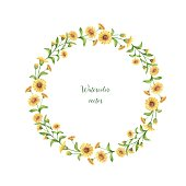 Watercolor vector round frame of calendula, marigold .