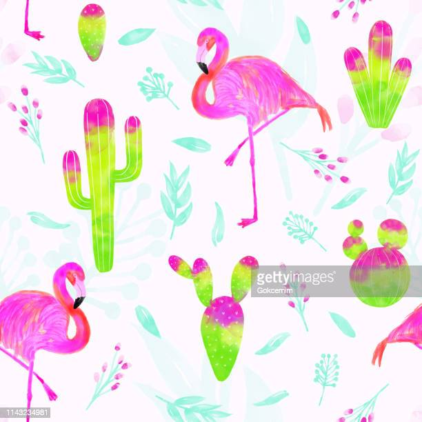 watercolor vector seamless pattern of pink flamingo and cacti with bright pink and green colors isolated on white background. tropical background, summer concept. - flamingo stock illustrations, clip art, cartoons, & icons