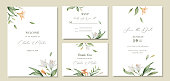 Watercolor vector set wedding invitation card template design with green leaves and flowers.