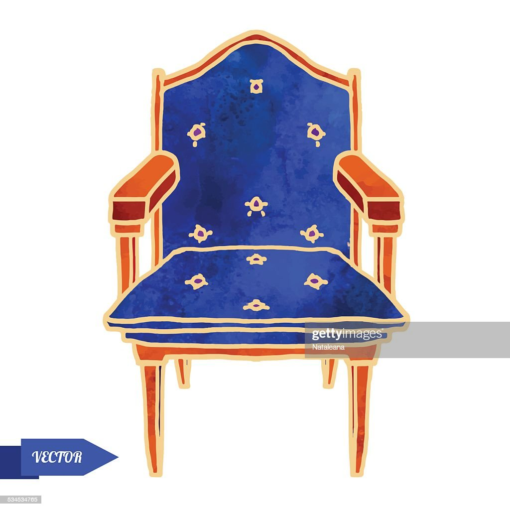 Watercolor vector vintage chair