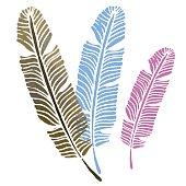 Watercolor vintage feathers set