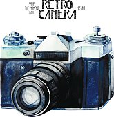 Watercolor vintage SLR camera