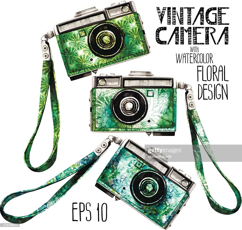 Watercolor vintage SLR camera with green floral body