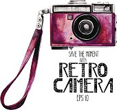 Watercolor vintage SLR camera with pink body