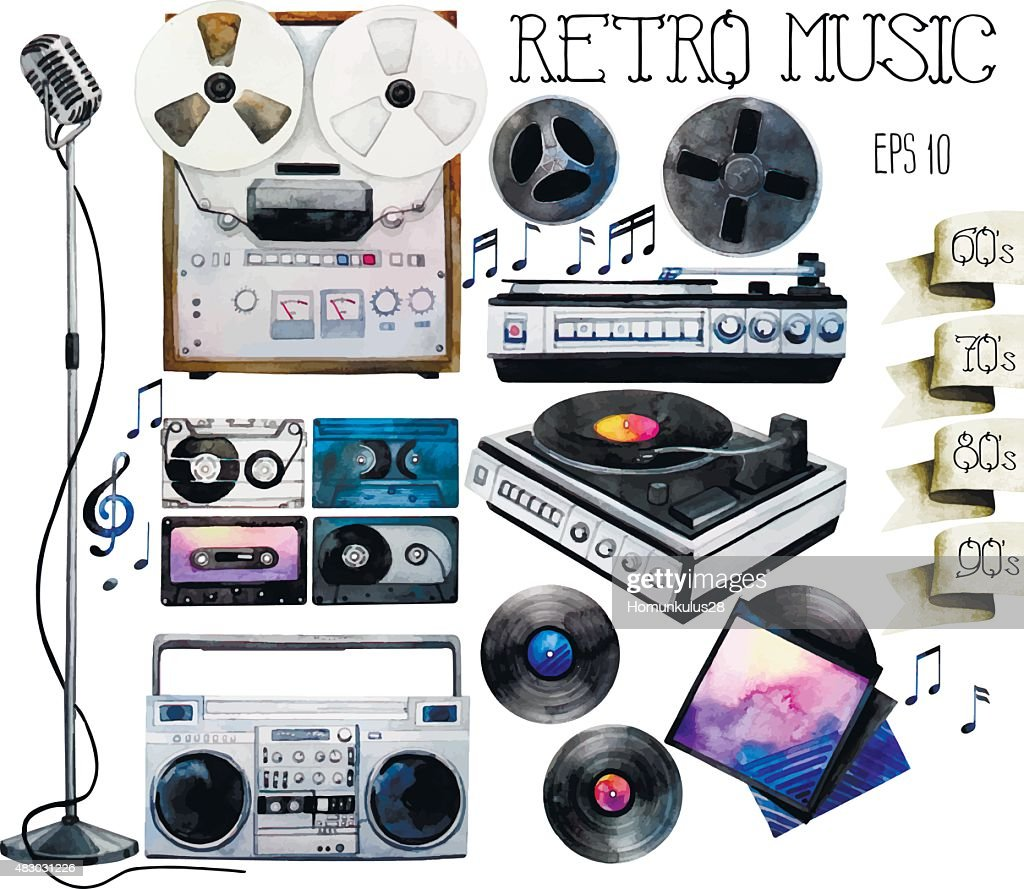 Watercolor vinyl turntable and records, tape recorder and cassettes, reel tape recorder, microphone